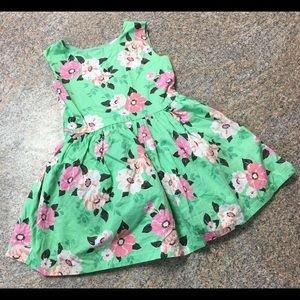 Carter's green pink floral print lined dress sz 3t